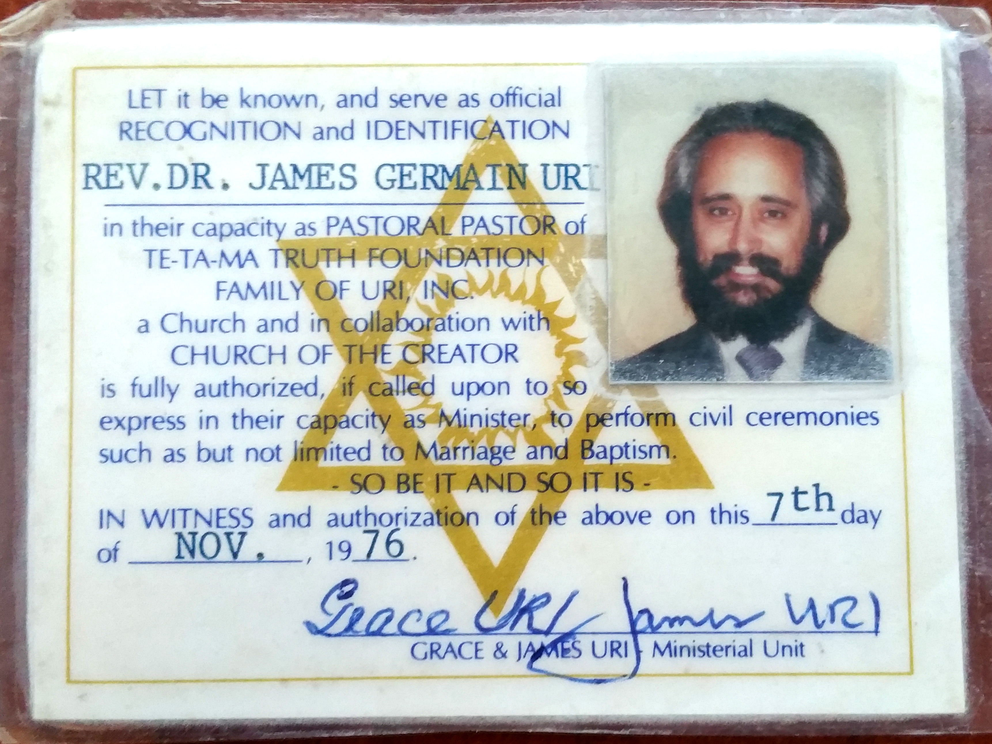 Rev Dr James Germin URI Pastoral Pastor ID Card TE TA MA Truth Foundation 20190429